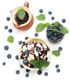 Ice cream with mint and blueberries in  bowl  with chocolate sa Stock Photos
