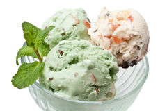 Ice cream with mint leaves in a glass Royalty Free Stock Photos