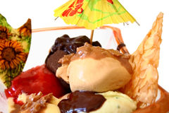 Ice cream with mixed flavors. And chocolate glaze royalty free stock image