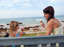 Ice cream mom daughter Stock Image
