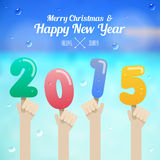 Ice cream number with hand up on merry christmas and happy new y. Ear 2015 concept vector Royalty Free Stock Image