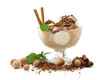 Ice cream with nuts, mint, cinnamon and chocolate Royalty Free Stock Image