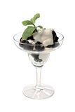 Ice cream with nuts prunes isolated on a white Stock Images