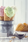 Ice cream with an old metal scoop Royalty Free Stock Images