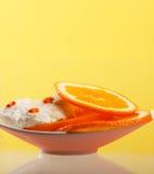 Ice cream with  orange. Ice cream with fresh orange Stock Photos