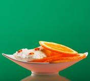 Ice cream with  orange. Ice cream with fresh orange Stock Photography