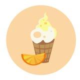 Ice Cream With Orange Colorful Dessert Flat Design Stock Photo