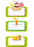 Ice cream, orange juice and beer with blank sign Royalty Free Stock Image