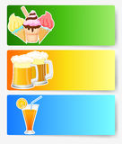 Ice cream, orange juice and beer with blank sign Stock Photo