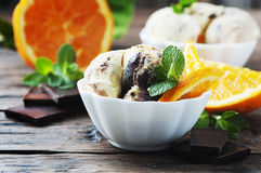 Ice cream with orange and mint Royalty Free Stock Photography