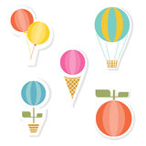 Ice Cream And Other Labels. Various set of icons with air balls, hot air balloon, flower in pot, ice cream and orange fruit. Collection of  labels with different Stock Image