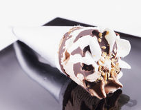 Ice Cream over black plate Stock Image