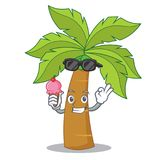 With ice cream palm tree character cartoon Royalty Free Stock Image