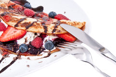 Ice Cream in Pan Cake with fruits. Fresh homemade Ice Cream in Pan Cake with fresh fruits Stock Images