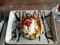 Ice cream pancake for a little happiness Royalty Free Stock Images