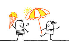 Ice cream & parasol Stock Photography