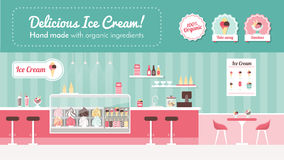 Ice cream parlor. Banner, shop interior and desserts on display Royalty Free Stock Photography