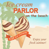 Ice cream parlor on the beach. Vector illustration banner with soft chocolate ice cream in the waffle cone on the vintage background. Text Enjoy your fresh Royalty Free Stock Photography