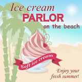 Ice cream parlor on the beach. Vector illustration banner with soft ice cream on the beach on the vintage background. Enjoy your fresh summer. eps10 Royalty Free Stock Image
