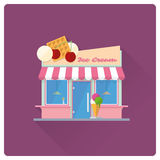 Ice cream parlor building flat design vector illustration Royalty Free Stock Photo