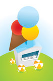 Ice cream parlor. Cartoon illustration of an Ice cream parlor from above Royalty Free Stock Image