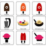 Ice Cream Parlor Icons Royalty Free Stock Photos