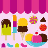 Ice Cream Parlor. Set of Graphics Royalty Free Stock Image