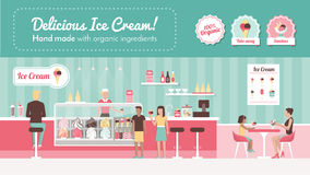 Ice cream parlor. Vector banner, shop interior, desserts and people eating Stock Photo