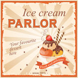 Ice cream parlor. Vector illustration banner with strawberry scoop ice cream in the glass bowl on the vintage background and text Your favourite dessert here Royalty Free Stock Photos
