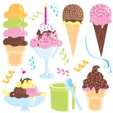 Ice cream party. Ice cream sundae, cones, candle, banana split, streamers, and confetti Stock Photos