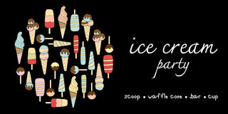 Ice cream party doodle pastel colors variation Royalty Free Stock Images
