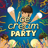 Ice cream party. Festive illustration with confetti and ice cream Royalty Free Stock Photo