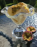 Ice-cream with passion-fruit. Ice-cream with egg-liquor and passion-fruit Stock Photos