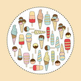 Ice cream pastel colors variation on beige background Stock Images