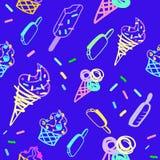 Vector ice cream pattern in blue vector illustration