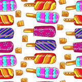 Ice cream pattern. Bright seamless pattern of ice cream. Ice cream on a stick. Summer seamless pattern, background. Stock Photos