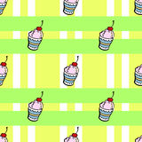 Ice cream pattern. Ice cream on the green background with strips. Vector illustration Stock Images