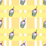 Ice cream pattern2. Ice cream on the orange background with strips. Vector illustration Royalty Free Stock Photography