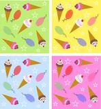Ice cream pattern seamless. Seamless ice cream pattern with four different background colours Royalty Free Stock Photos