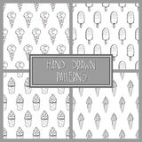 Ice Cream Pattern Set 4. Collection of 4 seamless hand-drawn black and white patterns, doodle ice-cream backgrounds set, EPS 10 Royalty Free Stock Photo