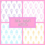 Ice Cream Pattern Set 4 Color. Collection of 4 seamless hand-drawn ice-cream patterns, doodle ice-cream backgrounds set, EPS 10 Stock Image