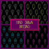 Ice Cream Pattern Set 4 Dark. Collection of 4 seamless hand-drawn outline patterns, doodle ice-cream backgrounds set, EPS 10 Stock Image