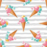 Ice cream pattern Striped background. Trendy art design, ice cream sticker or badge Stock Photography