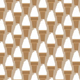 Ice cream pattern in swatches. Repeating vanilla ice cream in a wafer cup vector illustration