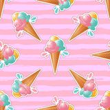 Ice cream pattern Trendy cute pink background. 80s pop art design, ice cream sticker or badge Stock Photo