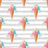 Ice cream pattern Trendy striped background. 80s pop art design, ice cream sticker or badge, white backdrop Stock Photo