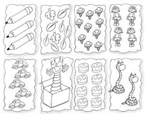 Ice cream pencils snake leaves and sweet chine coloring humorous children Royalty Free Stock Images