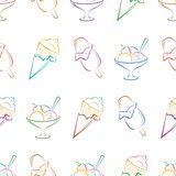 Ice cream pictogram, seamless Stock Images