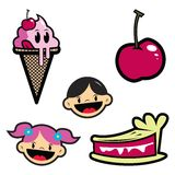 Ice cream,pie and happy kids. Cartoon drawing of isolated objects-ice cream,cherry,piece of pie and kids Stock Images
