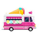 The ice cream pink cute van vector flat illustration,. The ice cream truck, side view, isolated on white background Stock Images